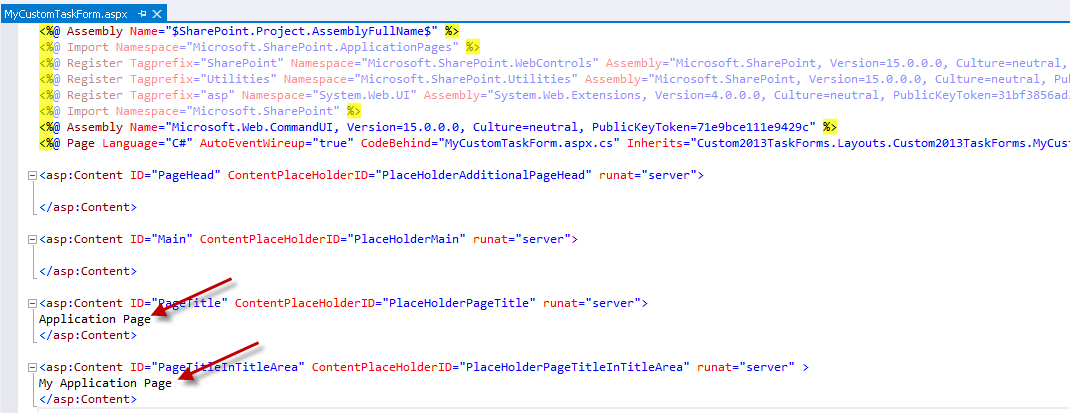 Content of the default application page