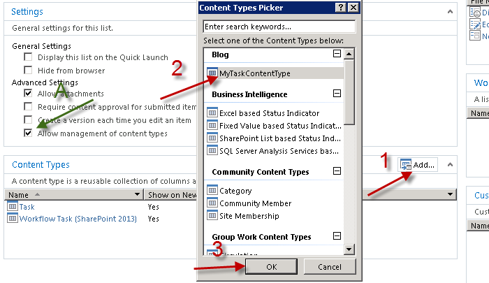 Adding new content type to the workflow task list (for using custom task form later)