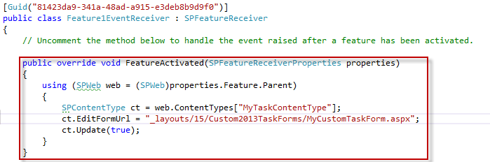 Code of the Event Receiver