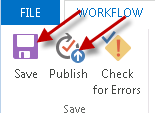 Saving changes and publishing the workflow