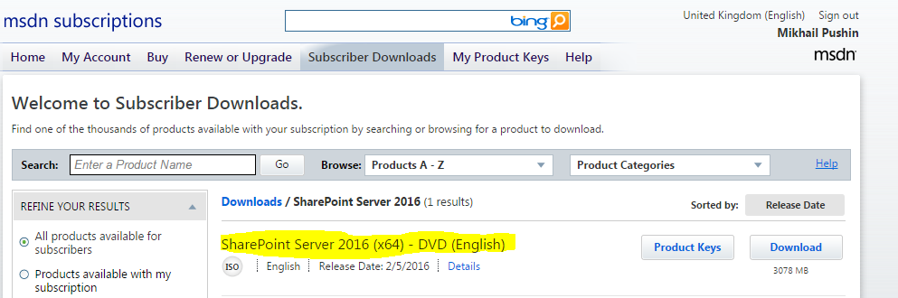 SharePoint 2016 in MSDN